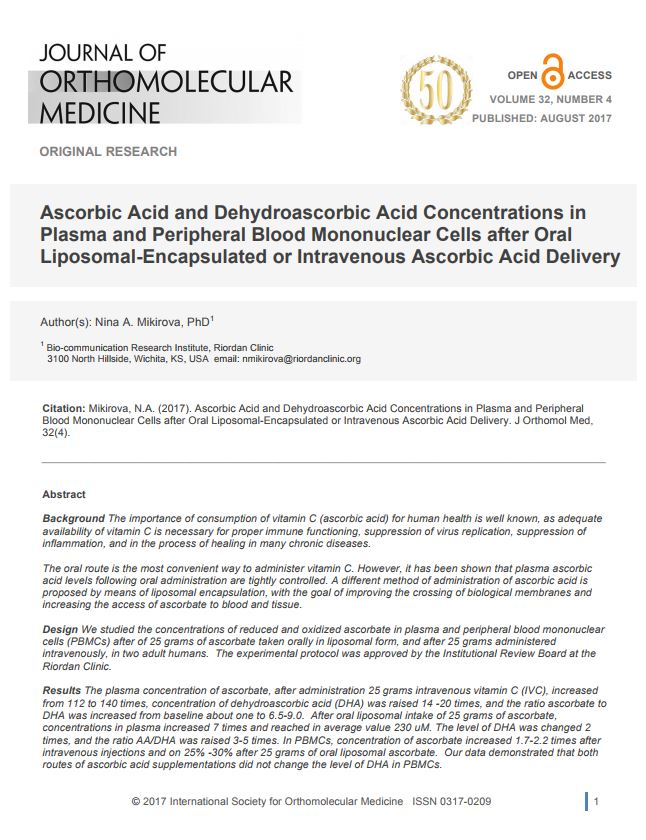 Ascorbic Acid and Dehydroascorbic Acid Concentrations in